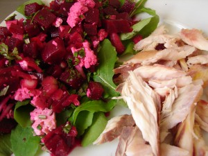 Zing-Zing Beetroot, Rocket & Feta Salad served with Smoked New Zeland Mullet